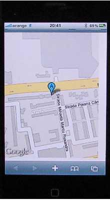 Monitorizare GSM/GPS SPOT  TRACK - harta cu locatia masinii pe telefon cu GPRS